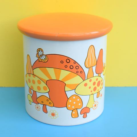 Vintage 1960s Toadstool & Flower Power Design Storage Tin - Orange