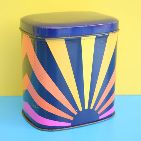 Vintage 1960s Sun Ray / Sunburst Metal Tin- Blue, Pink, Yellow, Orange