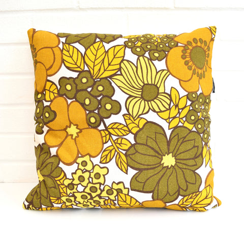 Vintage 1960s Larger Cushion & Pad - Flower Power, Mustard Yellow