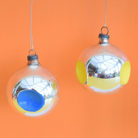 Vintage 1960s Glass Concave Christmas Baubles / Decorations - x4
