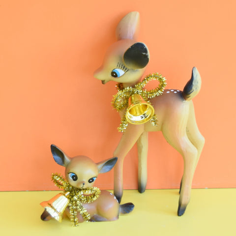 Modern Retro Bambi Pair Kitsch Ornament - Deer -  Brown