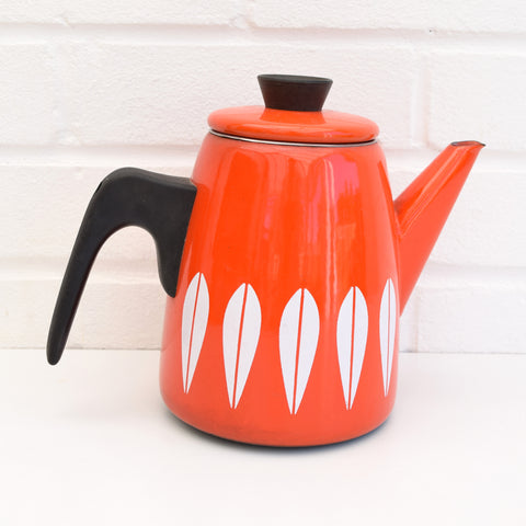 Vintage 1960s Enamel Coffee Pot - Cathrineholm of Norway, Orange & White
