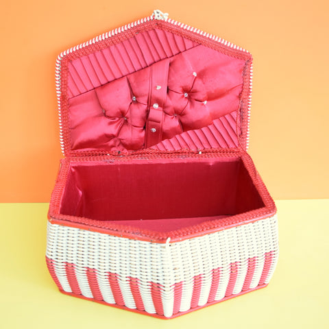 Vintage 1960s Sewing / Hobby Box - Red & White Woven