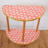 Vintage 1960s Half Moon Hall / Side Table - Red & White Flower Power