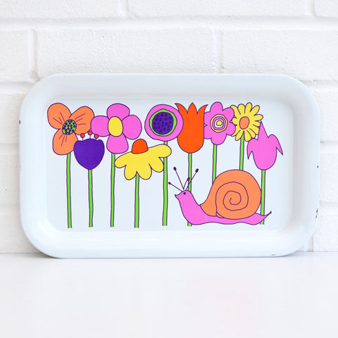 Vintage 1970s American Tin Tray - Flower Power / Snail Design, Pink