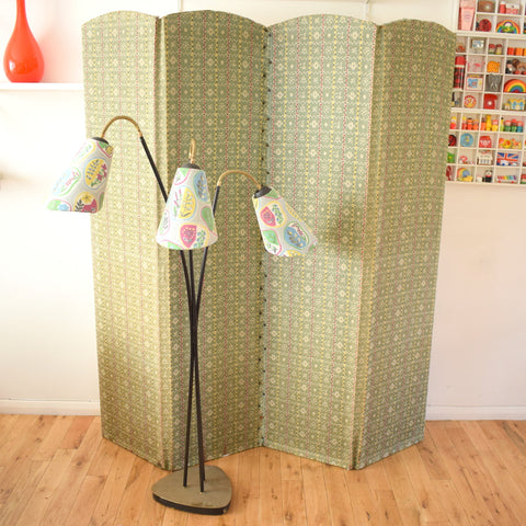 Vintage 1950s Fabric Covered Screen / Room Divider - Green, Red, Black