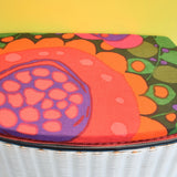 Vintage 1960s Sewing / Hobby Box - Swedish Boras Fabric, Green, Pink & Orange .