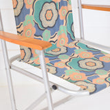 Vintage 1960s Garden Chair - Flower Power Design, Blue, Pale Pink detail