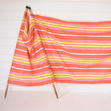Vintage 1960s Wind Break - Coral Pink, Red, Yellow & Yellow Stripe Design detail