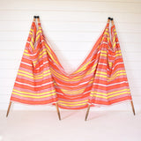 Vintage 1960s Wind Break - Coral Pink, Red, Yellow & Yellow Stripe Design