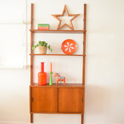 Vintage 1960s Danish Royal Wall Mounted Modular Teak System - Narrow