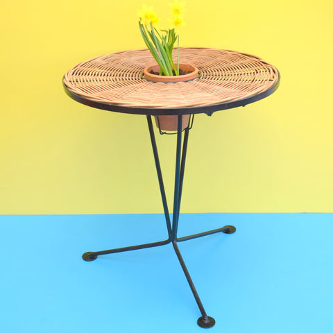 Vintage 1950s Round Wicker Side / Plant Table