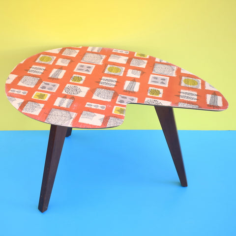 Vintage 1950s Wood Palette Side Table - Lucienne Day Print Top