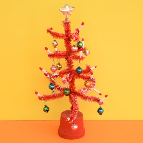 Vintage 1950s Small Pipe Cleaner Christmas Tree With Glass Decorations - Red