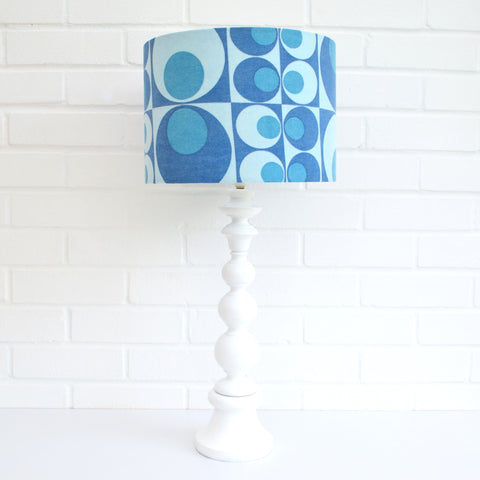 Vintage 1960s Wooden Table Lamp - Geometric Shade, Blue