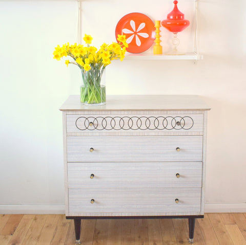 Vintage 1950s Grey Formica Chest Of Drawers - High Quality