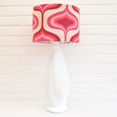 Vintage 1960s Plaster Table Lamp - Geometric Shade, Pink