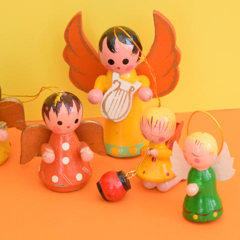 Vintage 1960s Mixed Wooden Angel Christmas Decorations x8