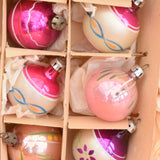 Vintage 1950s Hand Painted Small Glass Christmas Baubles / Decorations - & Tree Topper (Boxed) Pink