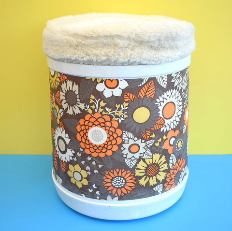 Vintage 1960s Plastic Plysu Laundry Bin - Flower Power - Brown & Orange