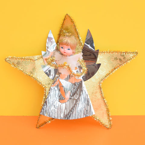 Vintage 1960s Pretty Christmas Fairy Tree Topper - Gold On Star