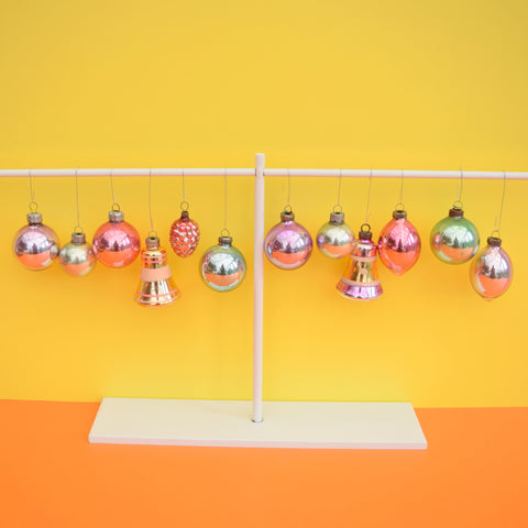 Vintage Mixed 1950s Glass Christmas Baubles / Decorations x 12 Concave - Unicorn Pastel colours