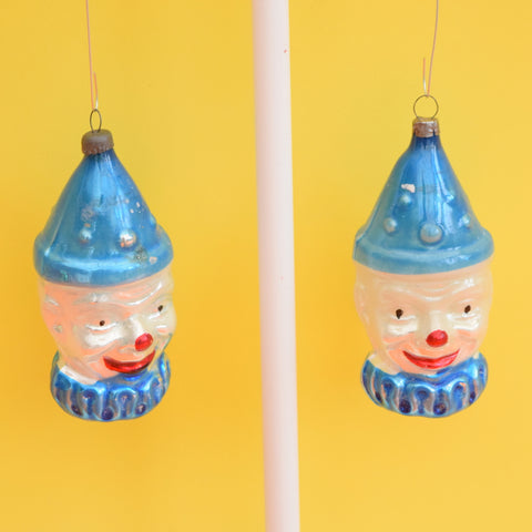 Vintage 1950s Fine Glass Clown Christmas Bauble / Decoration - Blue (2 Available)