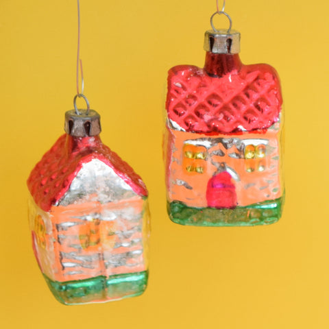 Vintage 1950s Fine Glass House / Cottage -  Christmas Bauble / Decoration - Two Available
