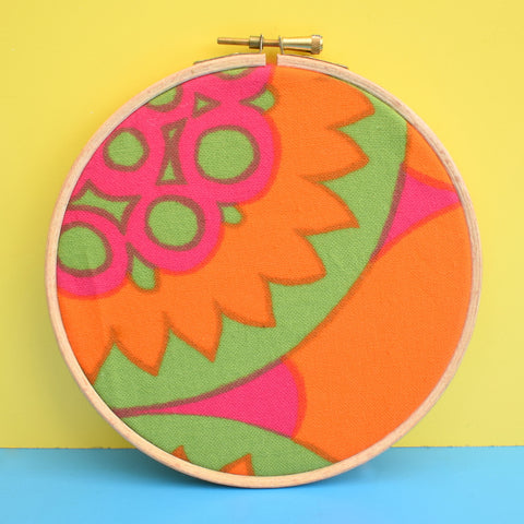 Vintage Medium Fabric Wall Art Circle - Geometric Flower Print - Pink, Orange, Green