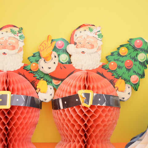 Vintage 1950s Honeycomb Paper Decorations - Santa / Ball / Bell