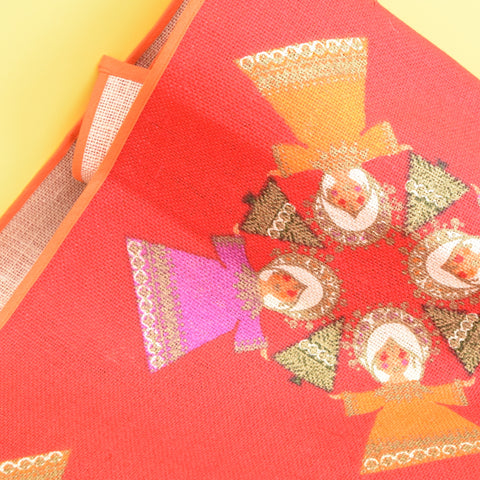 Vintage 1970s Swedish ,Table Runner / Tablecloth - Angel Design - Red / Pink / Orange