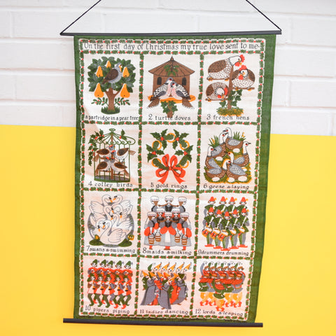 Vintage 1970s linen Tea Towel Wall Hanging - Twelve Days Of Christmas