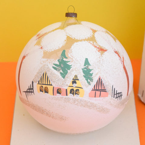 Vintage 1950s Giant Fine Glass Hand Painted Christmas Bauble / Decoration - Boxed