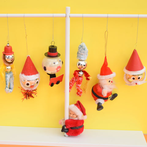 Vintage 1960s Kitsch Glass / Plastic Santa / Figures Christmas Decorations - x7
