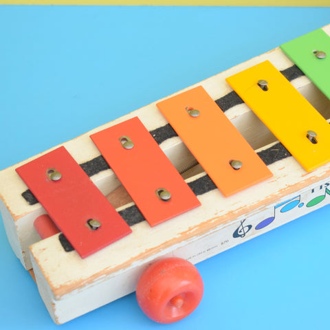 Vintage 1960s Wooden / Metal Fisher Price Xylophone - Rainbow Colours