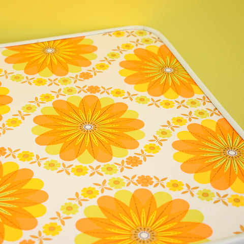 Vintage 1960s Folding Low Table - Flower Power - Orange & Yellow