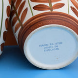 Vintage 1960s Hand Painted Ceramic Plant Pots - Brown