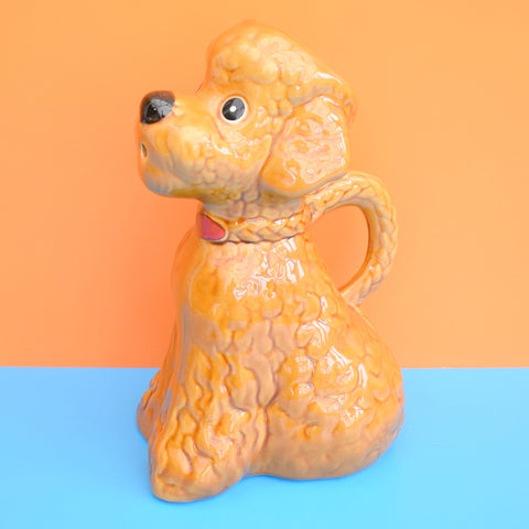 Vintage 1950s Large Kitsch Ceramic Poodle jug / Vase - Brown