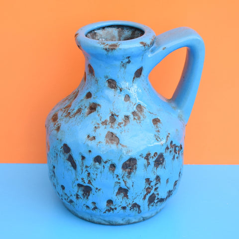 Vintage 1960s West German - Bay Fat Lava Jug / Vase - Blue