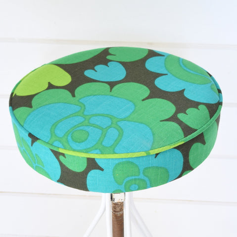 Vintage 1960s Metal Stool - Upholstered in Boras, Swedish Fabric, Green