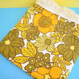 Vintage 1960s Single Bed Cover - Flower Power - Mustard