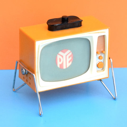 Vintage 1960s Mini Musical Wind Up TV Set - Call Waiting System - Orange