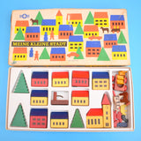 Vintage 1960s German Wooden House Blocks - Town / Trees - Boxed