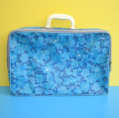Vintage 1960s PVC Suitcase - Flower Power - Blue