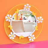 Vintage 1960s Round Flower Power Mirror - Yellow & White Daisies