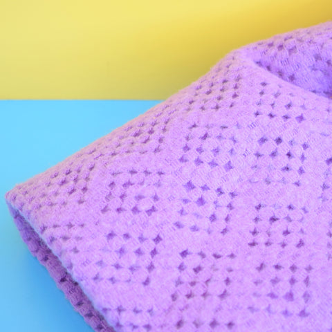 Vintage 1960s Cellular Blanket / Throw - Vibrant Lilac