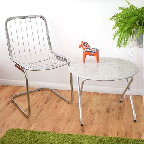 Vintage 1970s Chrome Chair / 1960s Grey Formica Folding Side Table
