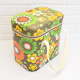 Vintage 1960s Vinyl Cool box or Bag - Flower Power Design, Green, Yellow & Orange