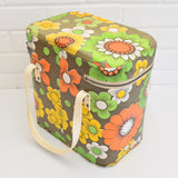 Vintage 1960s Vinyl Cool box or Bag - Flower Power Design, Green, Yellow & Orange side