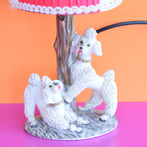 Vintage 1950s Ceramic Poodle Lamp & Shade - White & Pink